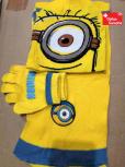 Ich – Einfach unverbesserlich Minion Minions 3 tlg. Fan Set Mütze Kappe Beanie Cap Handschuhe Handschuhen Schal Kind Kinder Winter Kleidung Accessoire Winterset Gelb Minionskleidung Kino Kult