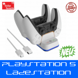 Doppel Ladestation Sony Playstation 5 PS5 Controller DualSense Gamepad Charger Halter Halterung Konsolen Zubehör Accessoire