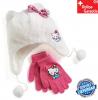 Hello Kitty Hellokitty Katze HK Winter Set Kappe Mütze Cap Beanie Wintermütze Winterkappe Handschuhe Handschuh Kleidung Outdoor Fan Mädchen Girl