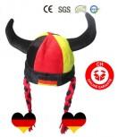 Hörner Deutschland Germany Fan Mütze Originelle Kopfbedeckung für alle treuen Deutschland-Fans EM WM
