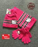 Hello Kitty Hellokitty Cap Mütze Handschuhe Handschuhen und Schal Mädchen Girl Winter Set Winterset Fan Pink Rosa Geschenk