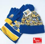 Ich einfach unverbesserlich Minion Minions Beanie Mütze Cap  Schal und Handschuhen Set Kind Kinder Winter Winterset