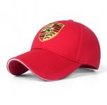 Porsche Fan Cap Mütze Kappe Schwarz Rot Baseball Baseballcap Auto Wappen Rot